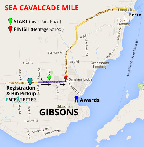 Map of mile route and directions from ferry